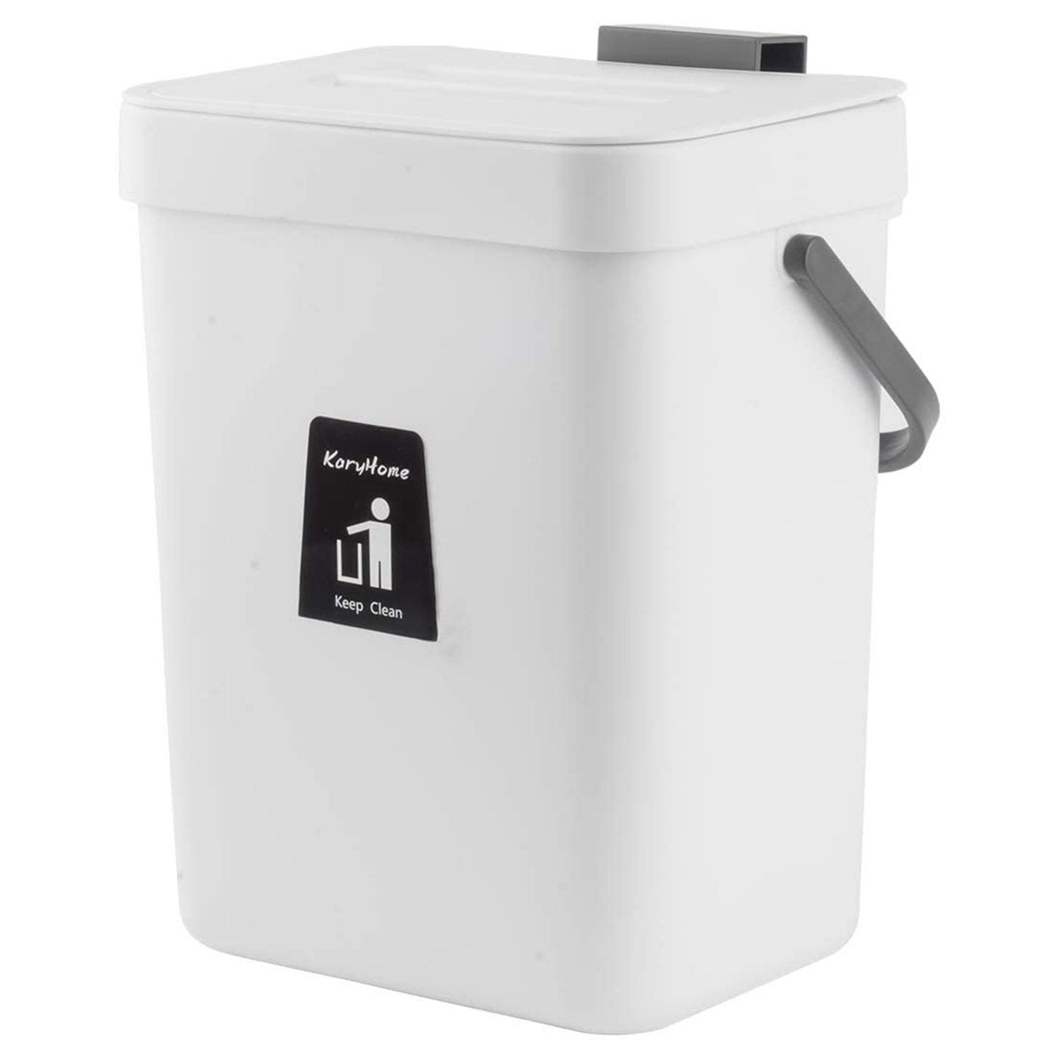 KaryHome Hanging Small Trash Can with Lid Under Sink for Kitchen