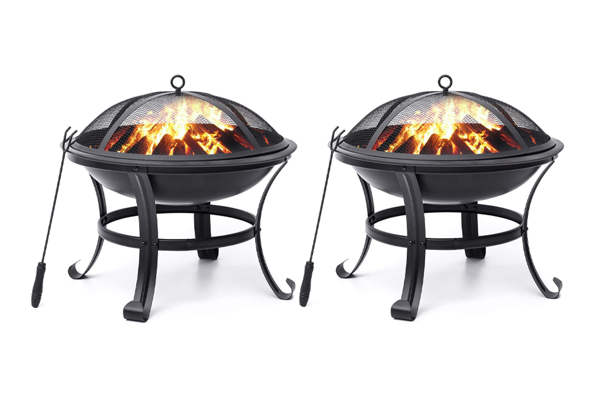 Fire Pits Outdoor Wood Burning Steel BBQ Grill Firepit Bowl