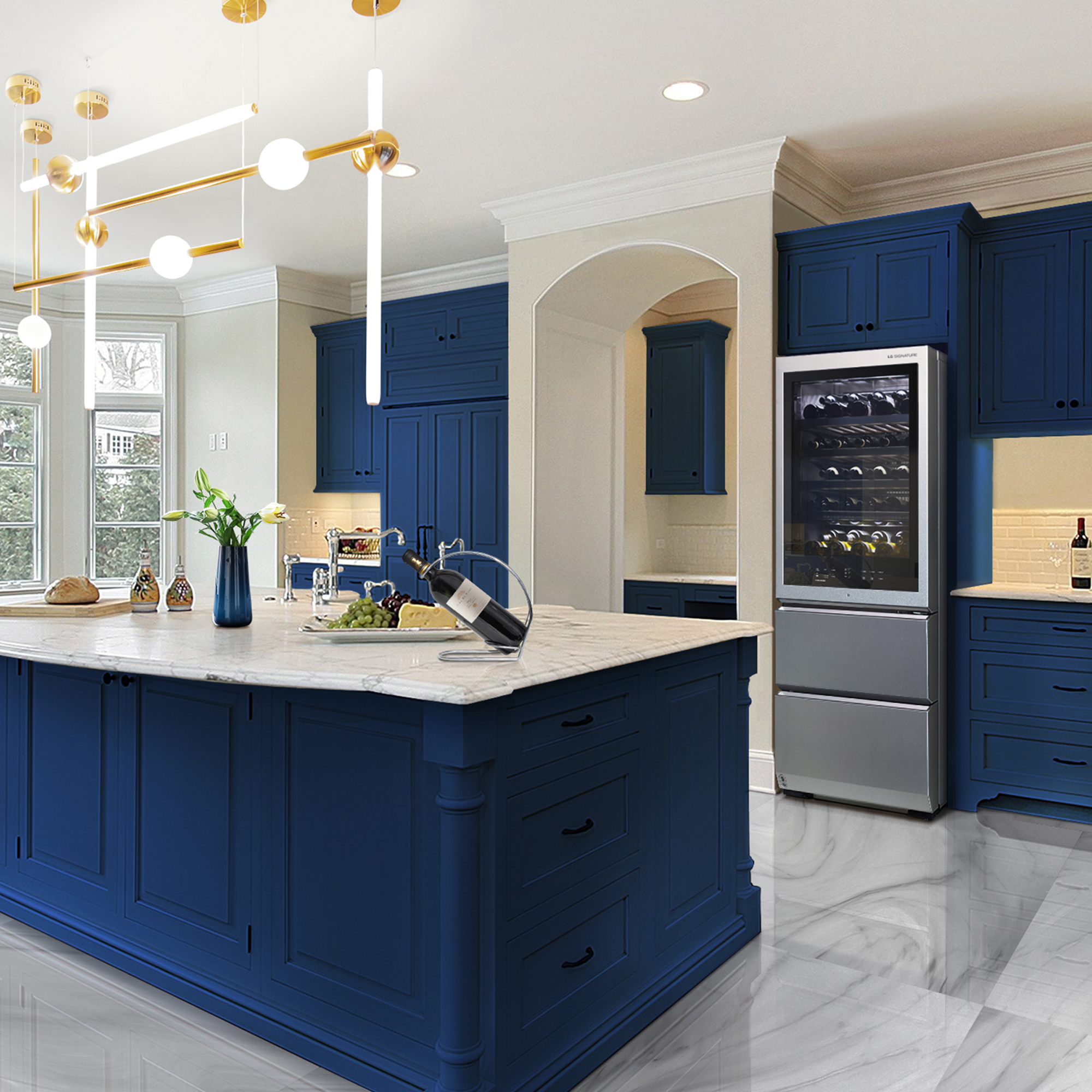 blue kitchen with wine fridge