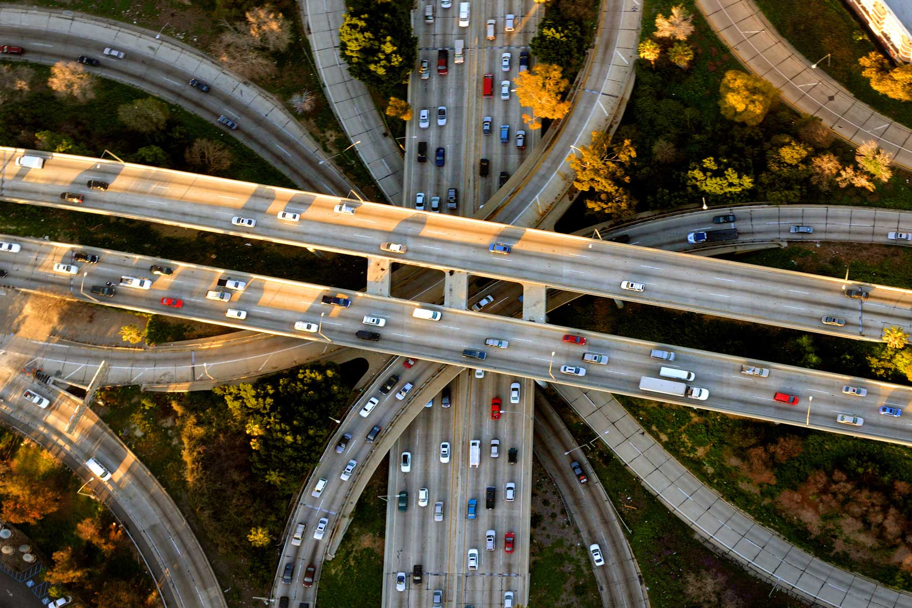 Helicopter Aerial View of the famous Los Angeles Four Level freeway interchange