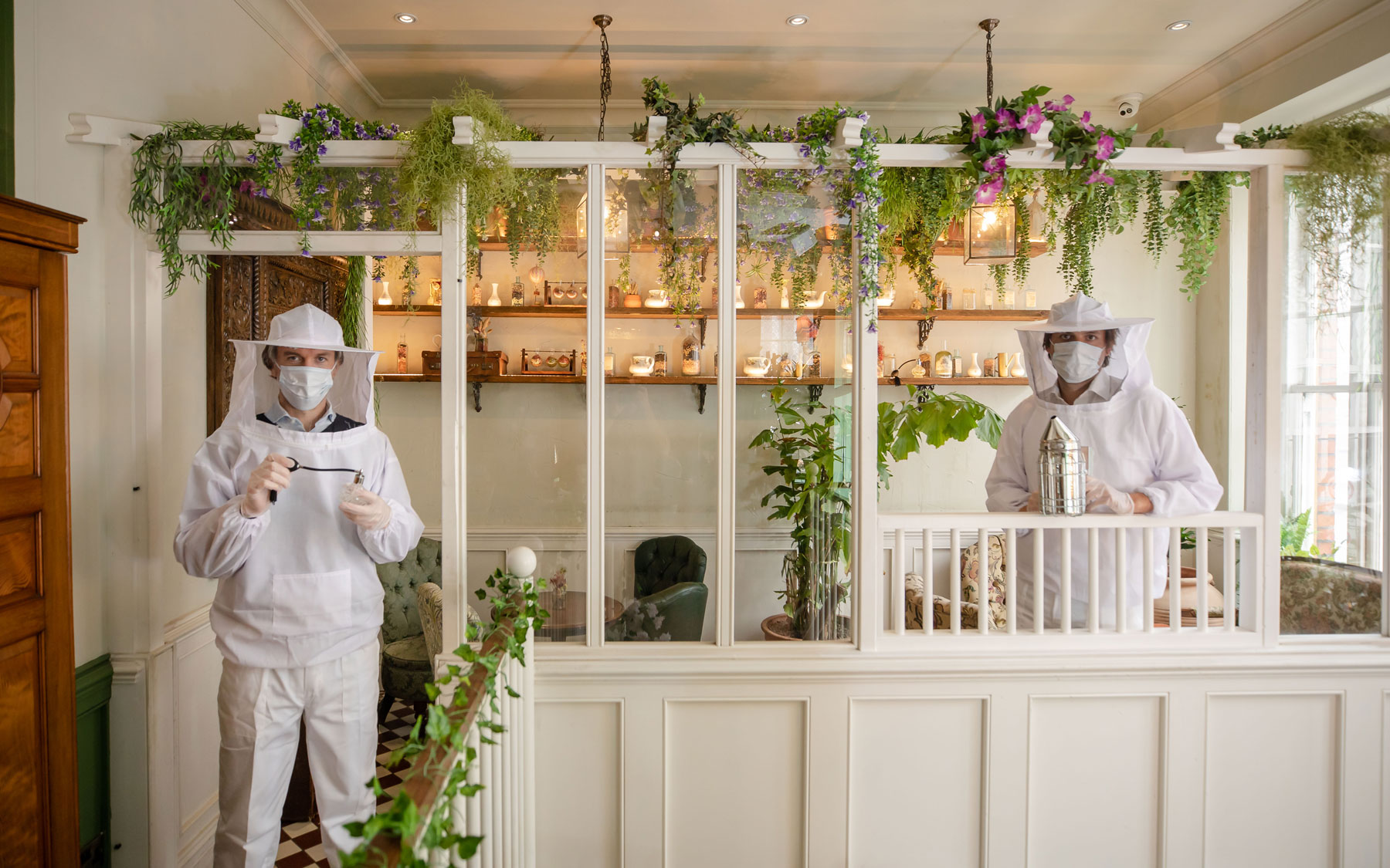 Mr Fogg's House of Botanicals staff wearing beekeeper suits