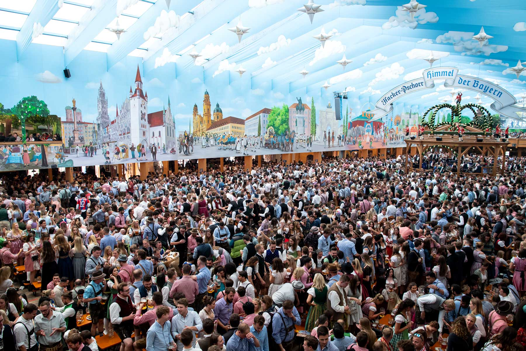 Oktoberfest attendees in one of the tents erected on the grounds where it is held in the city of Munich.