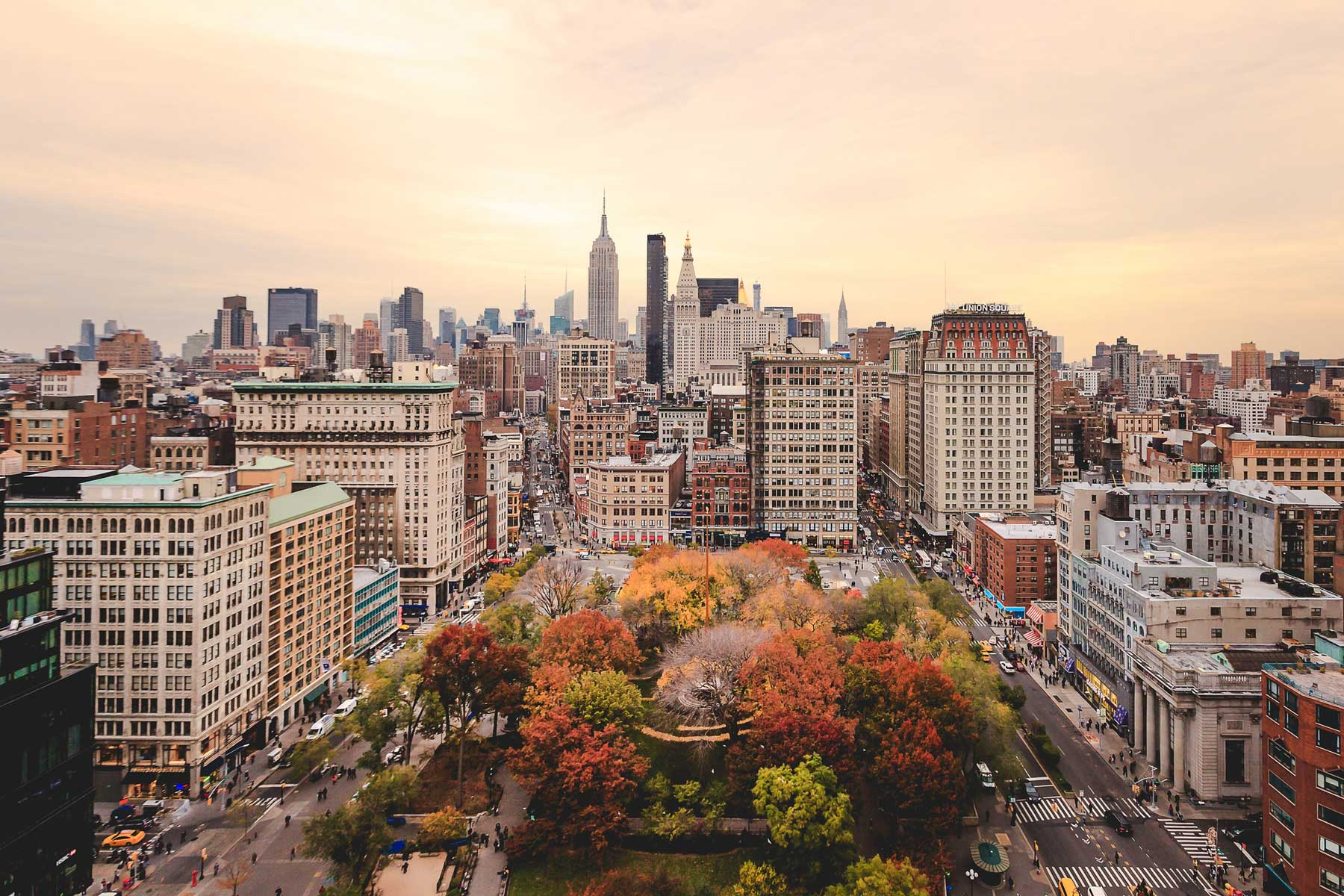 View of buildings in Manhattan during fall