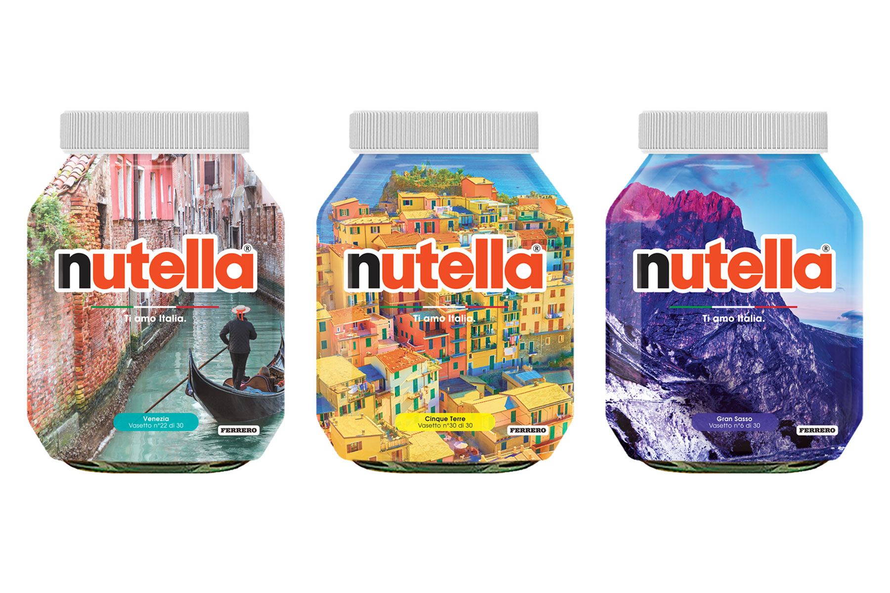 Nutella jars with landscape scenes of Italy superimposed on top