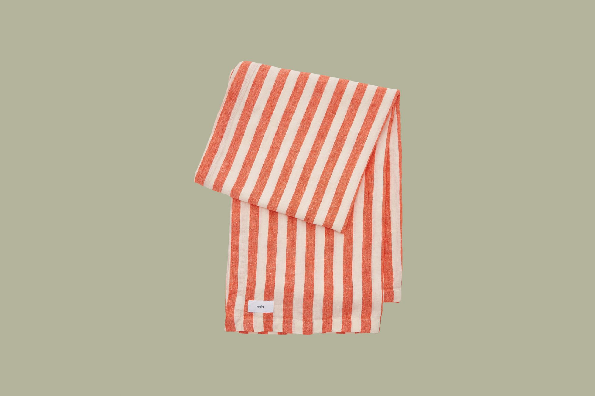 Onia Striped Linen Beach Blanket in Red