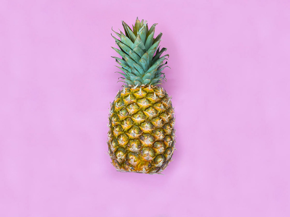 pineapple on purple background