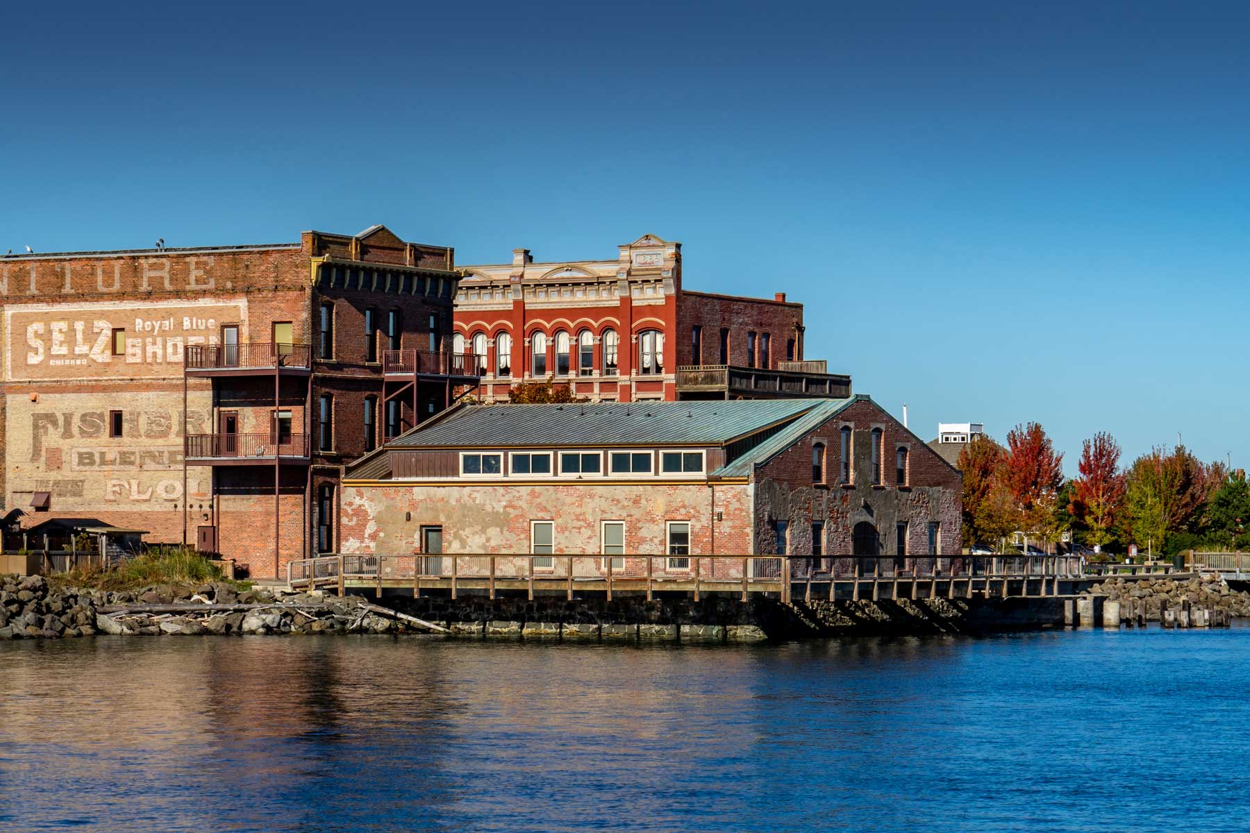 Waterfront Brick Buildings in the afternoon Summer Sun