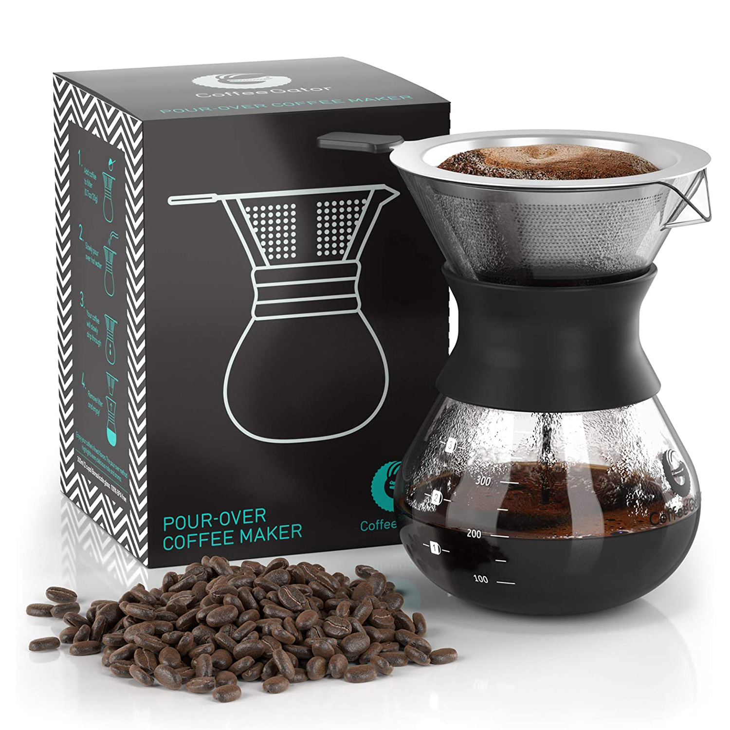 Pour Over Coffee Dripper Coffee Gator Paperless Pour Over Coffee Maker