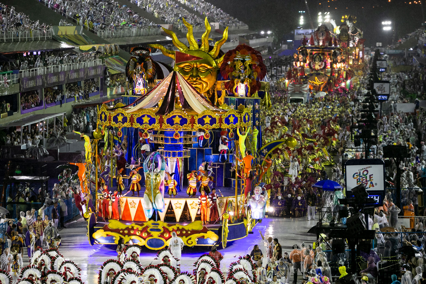 view of Academicos do Salgueiro Samba School performance during the 2020 Rio de Janeiro Carnival champions' parade