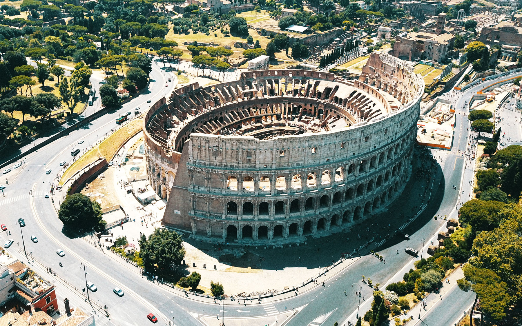Aerial view of Coliseum in roman