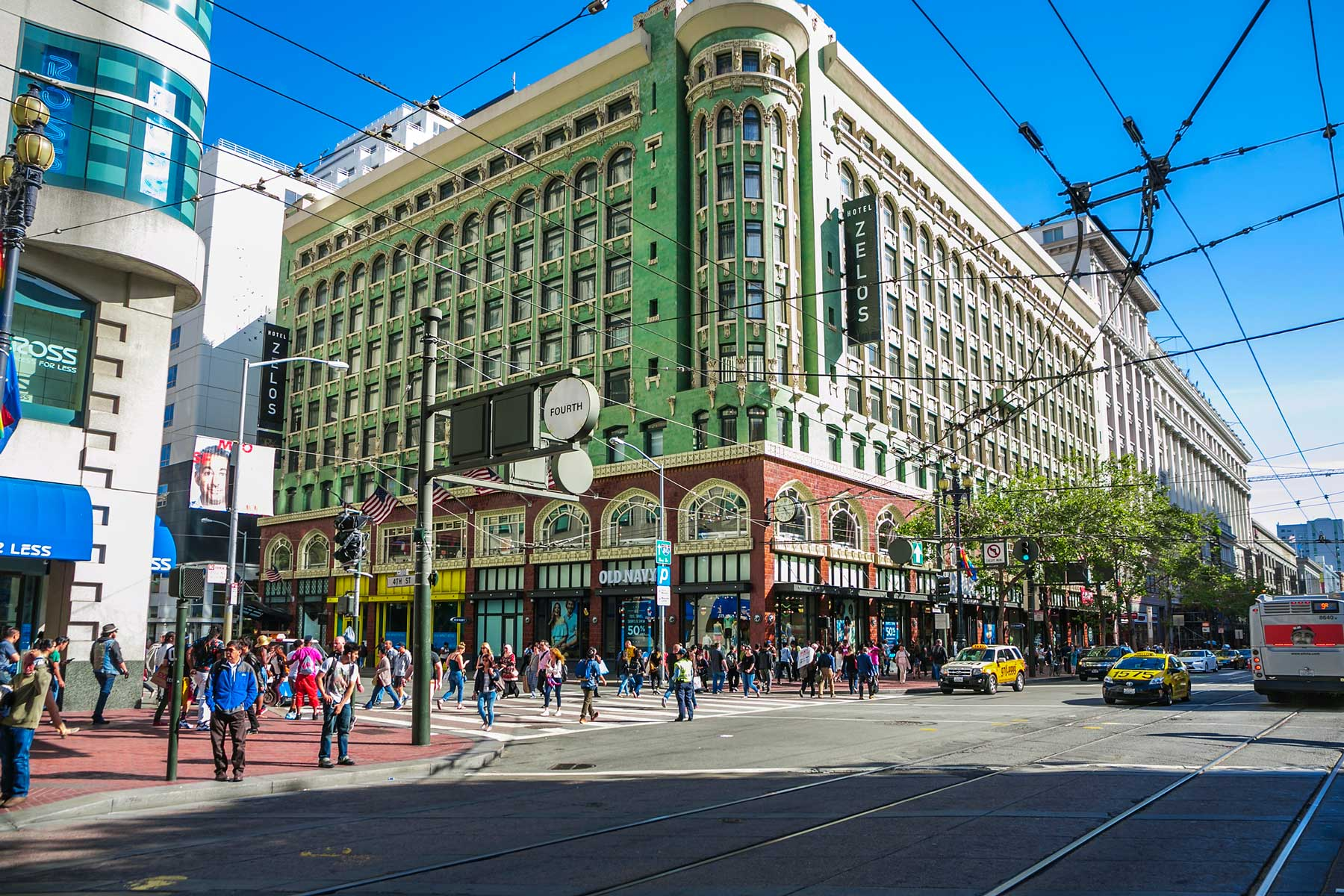 Market street, around Union Square in San Francisco on a sunny day