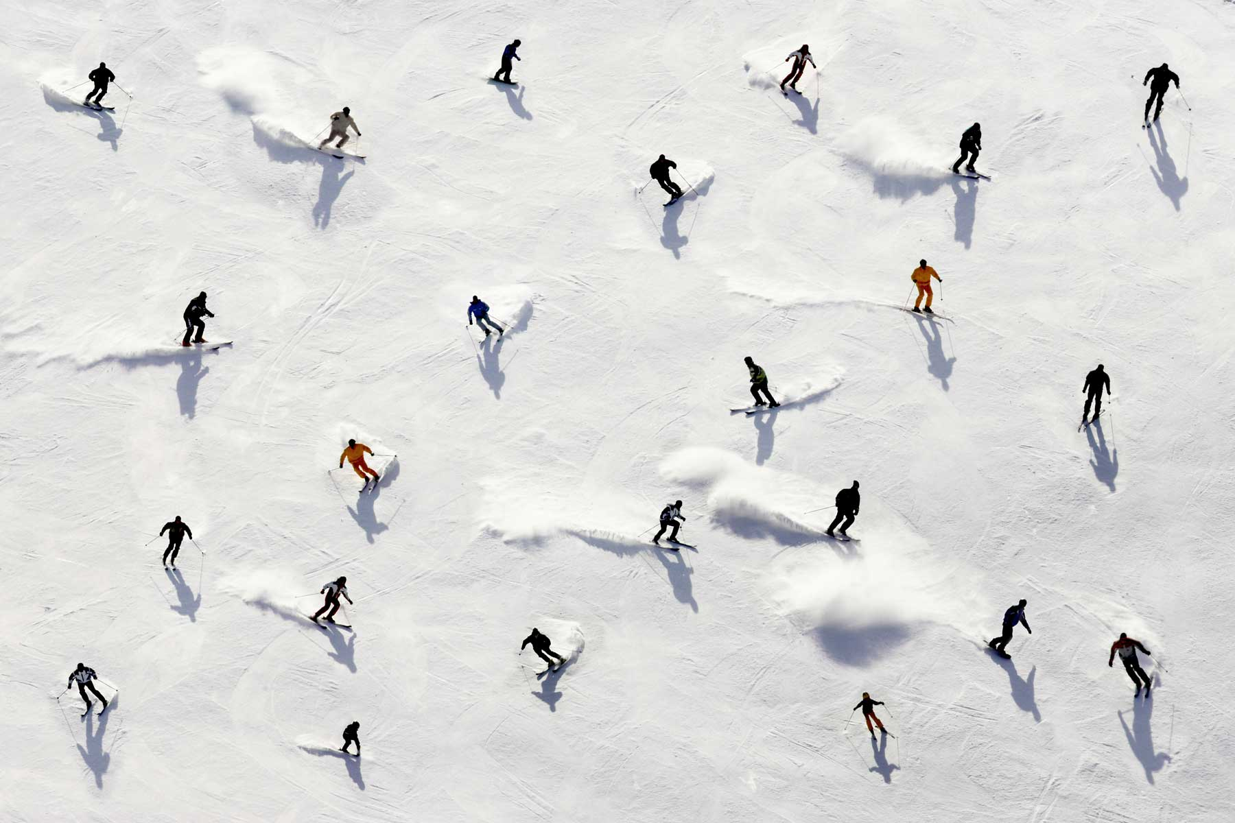 Aerial view of crowded ski slope