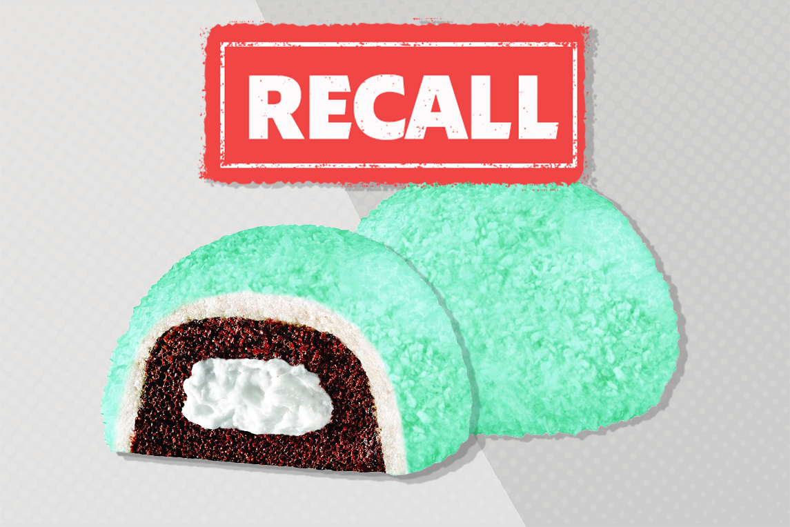 hostess snoballs out of package with recall sticker