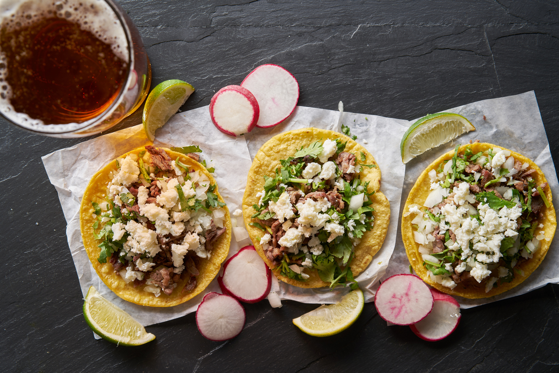 Beer and carne asada mexican tacos