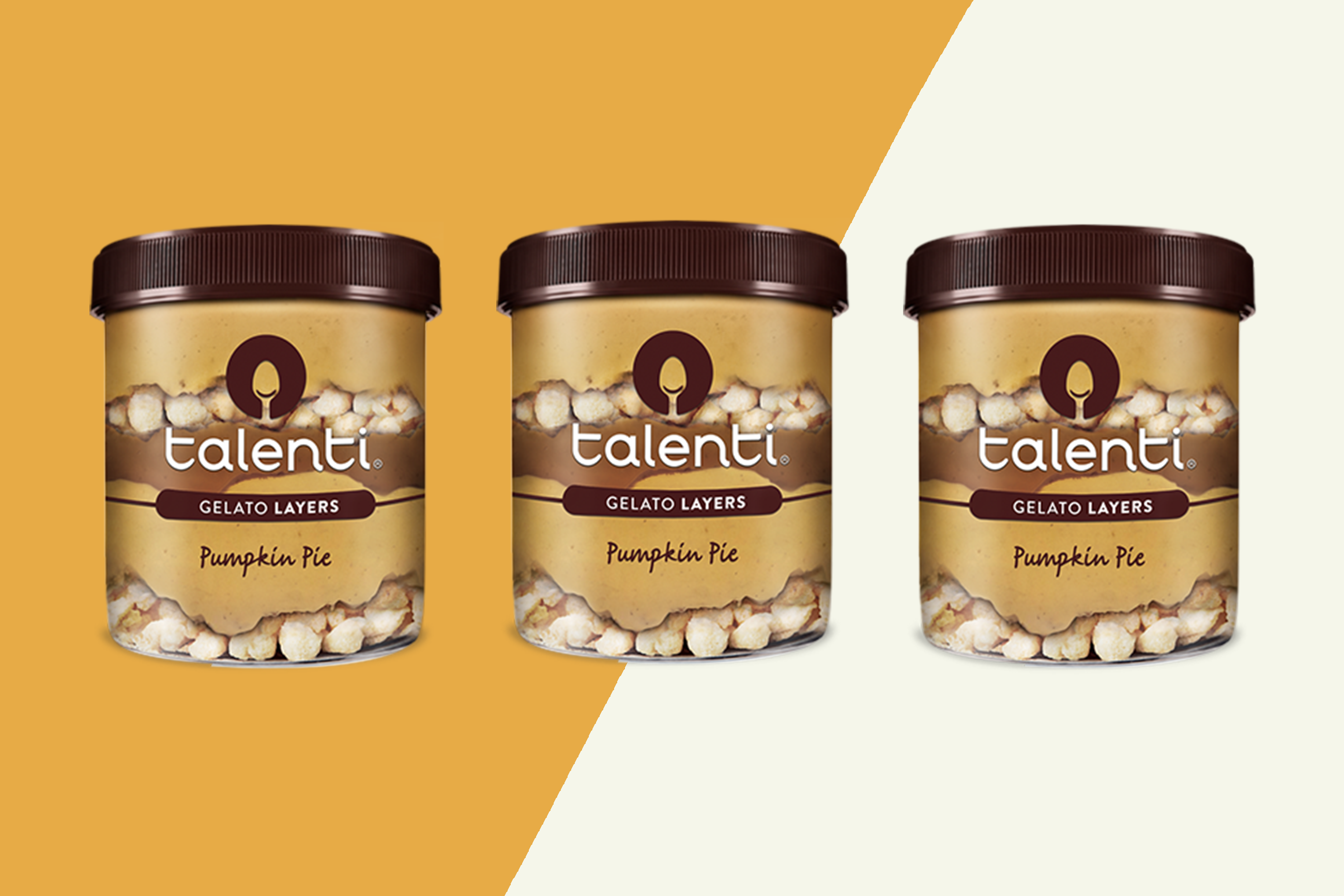 three containers of talenti pumpkin pie gelato