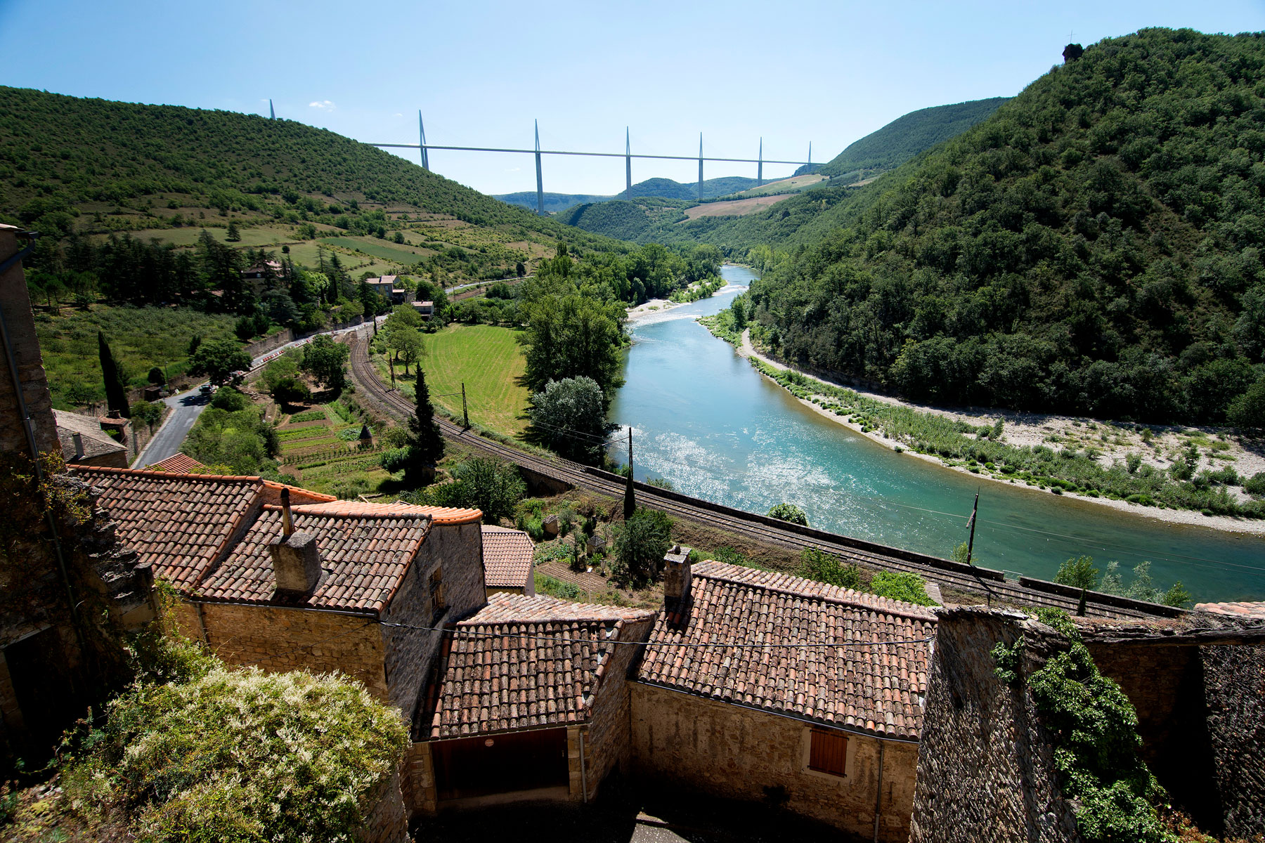 view of the River Tarn in the village of Peyre of Southern France