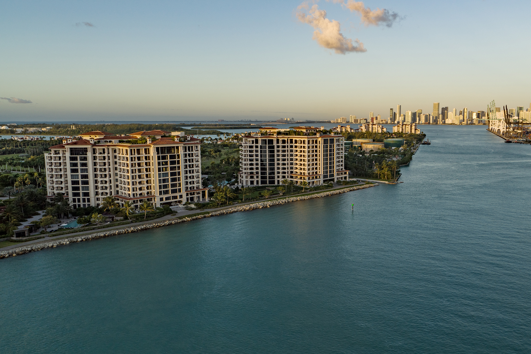 View of Palazzo Della Luna and downtown Miami from the water