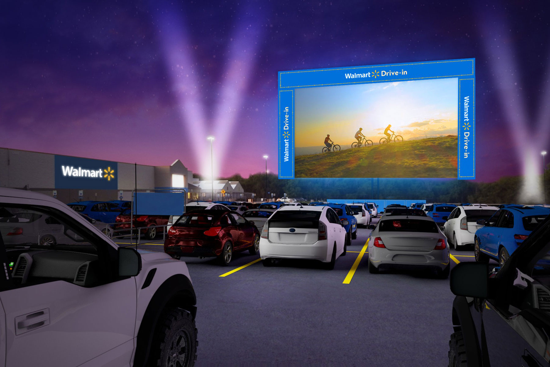 Walmart drive-in with screen in parking lot