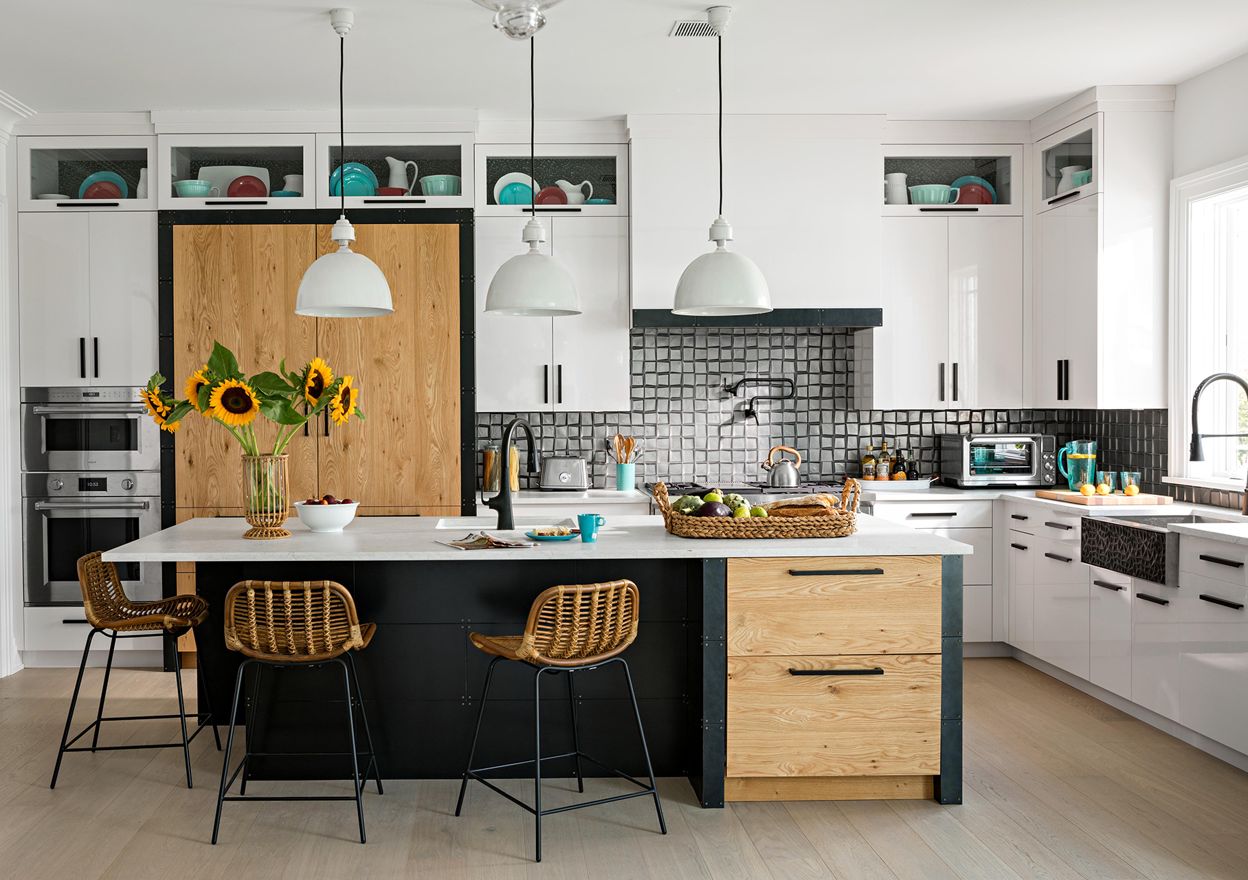 white kitchen with island wooden cabinets