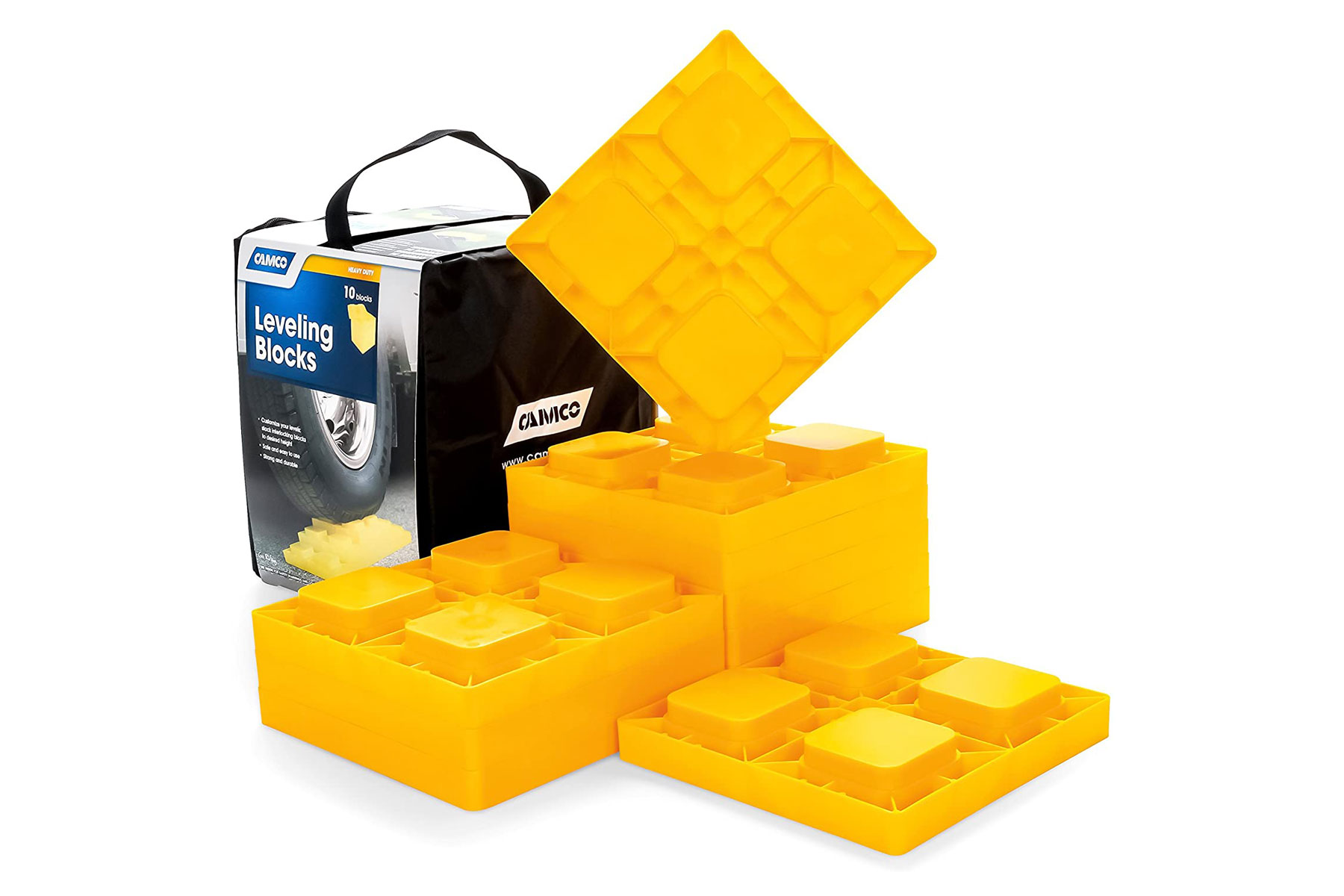 yellow RV leveling blocks