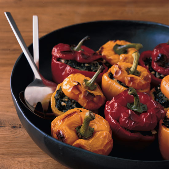 Stuffed Peppers with Spicy Creamed Swiss Chard