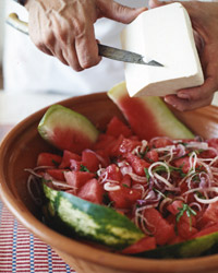 Watermelon and Arugula Salad with Walnuts