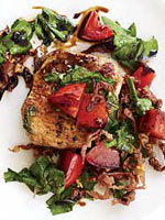 Pork with Arugula and Tomatoes