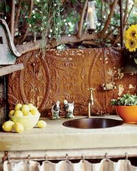 Outdoor kitchen sink.