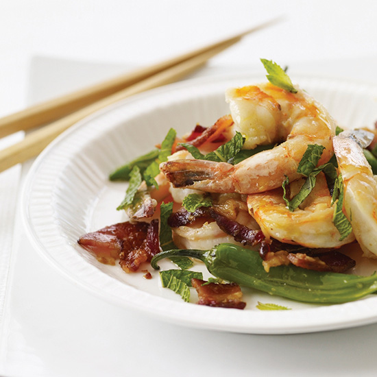 Stir-Fried Shrimp with Bacon, Mint and Chiles.