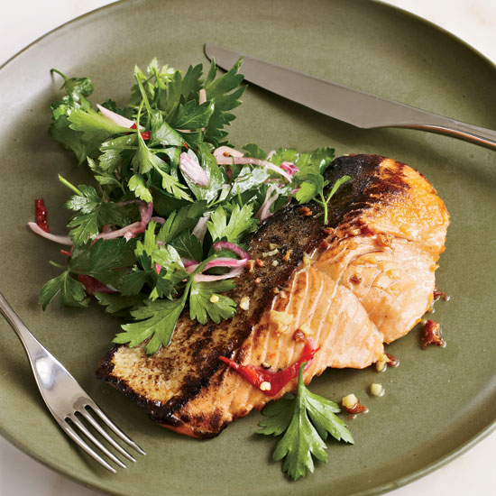Salmon with Vodka Sauce and Parsley Salad
