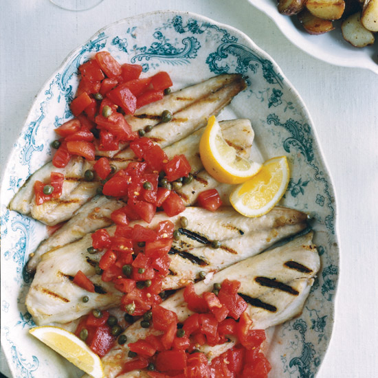 Grilled Mackerel with Sicilian Caper-Tomato Salsa