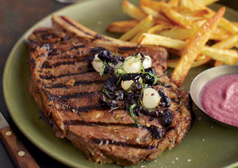 Grilled Steaks with Onion Sauce and Onion Relish.
