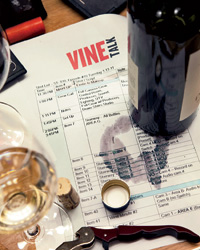 Stanley Tucci and Ray Isle tasted wines at Manhattan's Ai Fiori to find options for the Vine Talk green room.