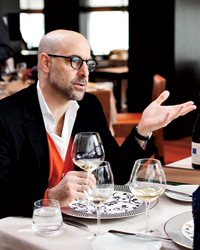 Stanley Tucci and Ray Isle tasted wines at Manhattan's Ai Fiori to find options for the Vine Talk green room. Celebrity guests on the show include actor Steve Buscemi, fashion designer Nanette Lepore and pro poker player Beth Shak.