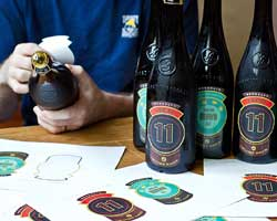 Labeling a special beer, Local 11, for a once-in-a-lifetime dinner at Eleven Madison Park.