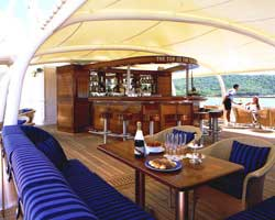 The bar area of one of SeaDream's ship's upper deck.