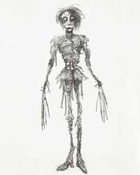 Tim Burton (American, b. 1958), Untitled (Edward Scissorhands), 1990, Pen and ink, and pencil on paper, 14 1/4 x 9