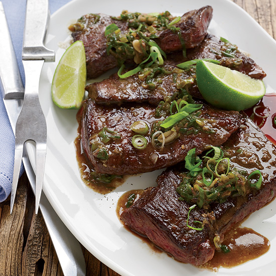 Pan-Seared Skirt Steak with Anchovies and Lime
