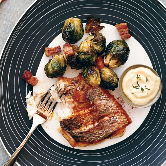 Striped Bass with Caramelized Brussels Sprouts