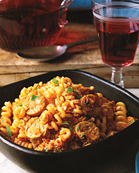 Fusilli with Spicy Chicken Sausage, Tomato, and Ricotta Cheese