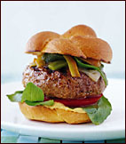 Sausage Burgers with Grilled Green Chiles