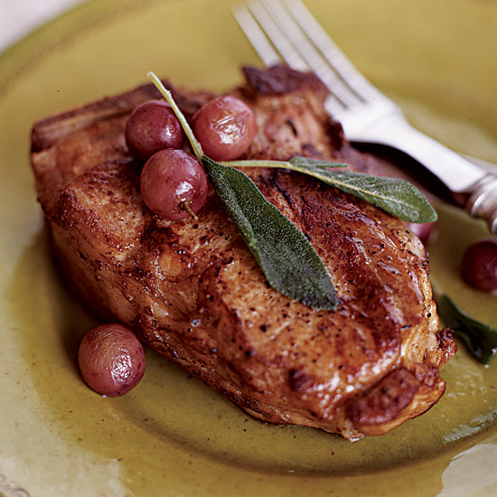 Braised Veal Chops with Honey and Red Grapes