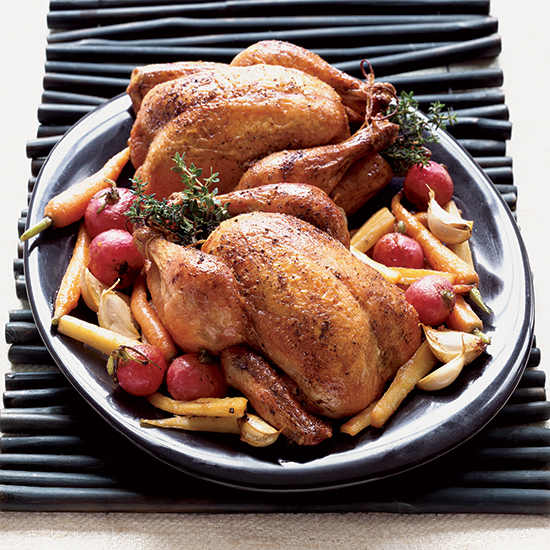 Roasted Blue Foot Chickens with Glazed Parsnips and Carrots