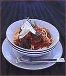 Spaghettini with Veal and Porcini Meatballs