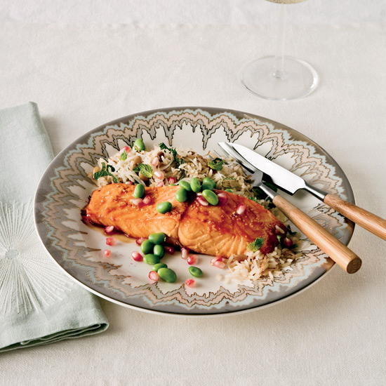 Pomegranate-Glazed Salmon with Oranges, Olives, and Herbs