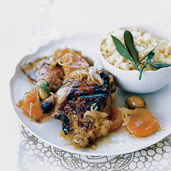 Moroccan Chicken with Apricot-and-Olive Relish