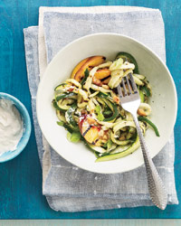 Zucchini Ribbons and Peaches with Macadamia Cream