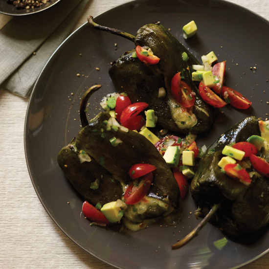 Chiles Rellenos with Corn-and-Okra Succotash