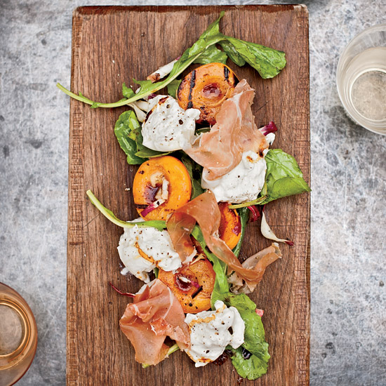 Grilled Apricots (or Peaches) with Burrata, Country Ham and Arugula