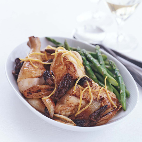 Lemony Chicken Fricassee with Shallots and Morels